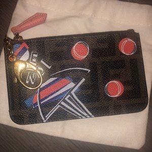 Fendi monogram leather key chain card/coin holder